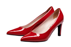 Womens Corporate Work Heels, Red Soft Patent Leather. Comfortable Heels