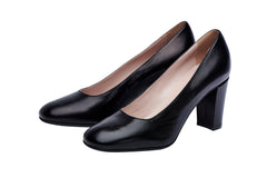 Womens black block leather high heel. Most comfortable cabin crew and corporate shoes.