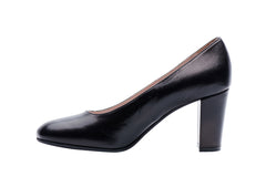 Black 7.5cm block heel. Corporate heels for professional women and airline cabin crew