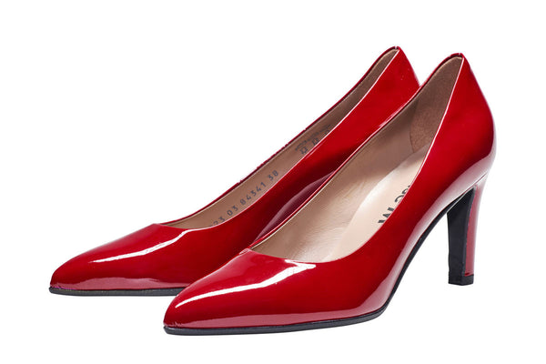 Louise M Point Toe Court - Dark Red Patent