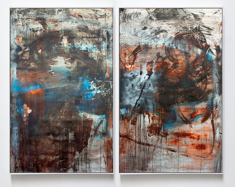 Blue, Orange, Black Diptych, 2017. Chris Trueman