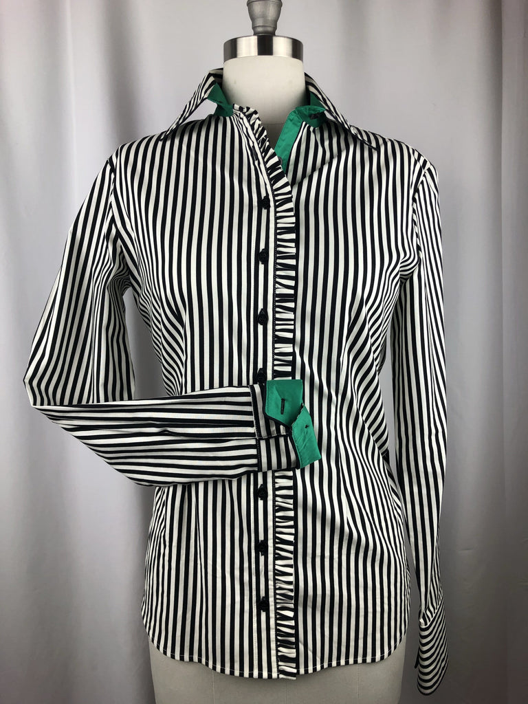 CR RanchWear CR Western Ruffle Black and White Bengal Stripe