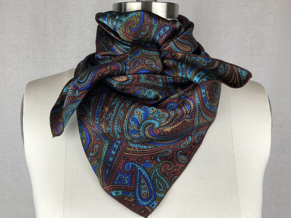 CR RanchWear Physical CR Blue Paisley Silk Scarf 36x36