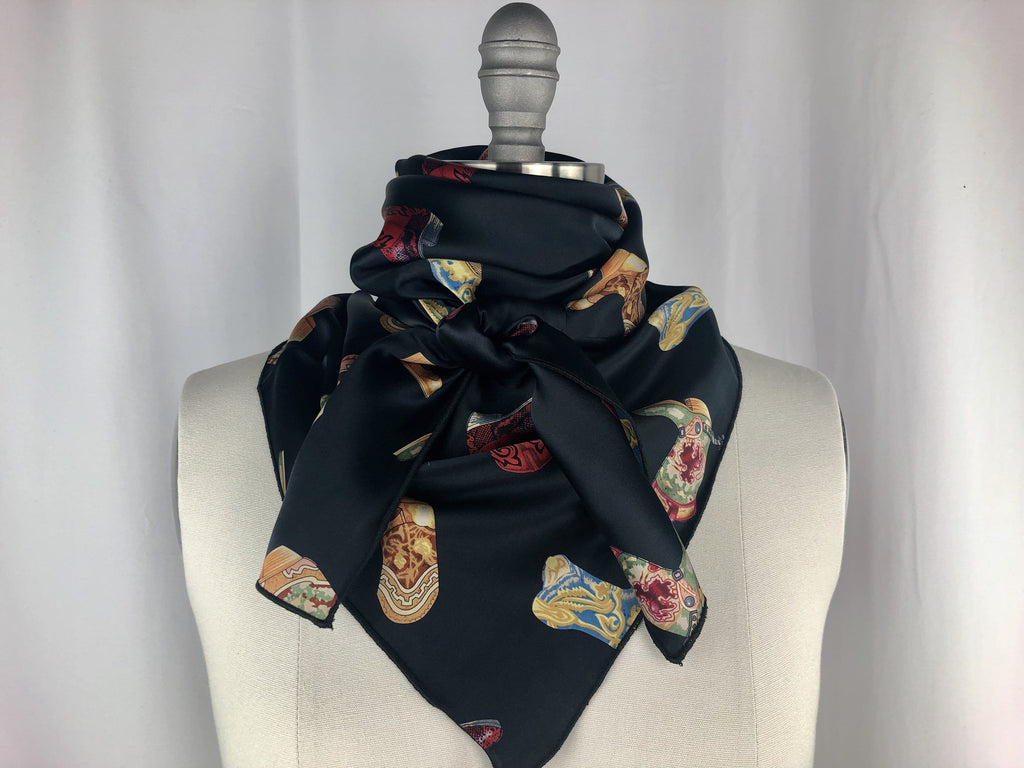 CR RanchWear Physical CR Boot Scootin Black Silk Scarf 36x36