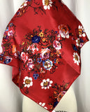 CR RanchWear Physical CR Bright Red Floral Silk Scarf 36x36