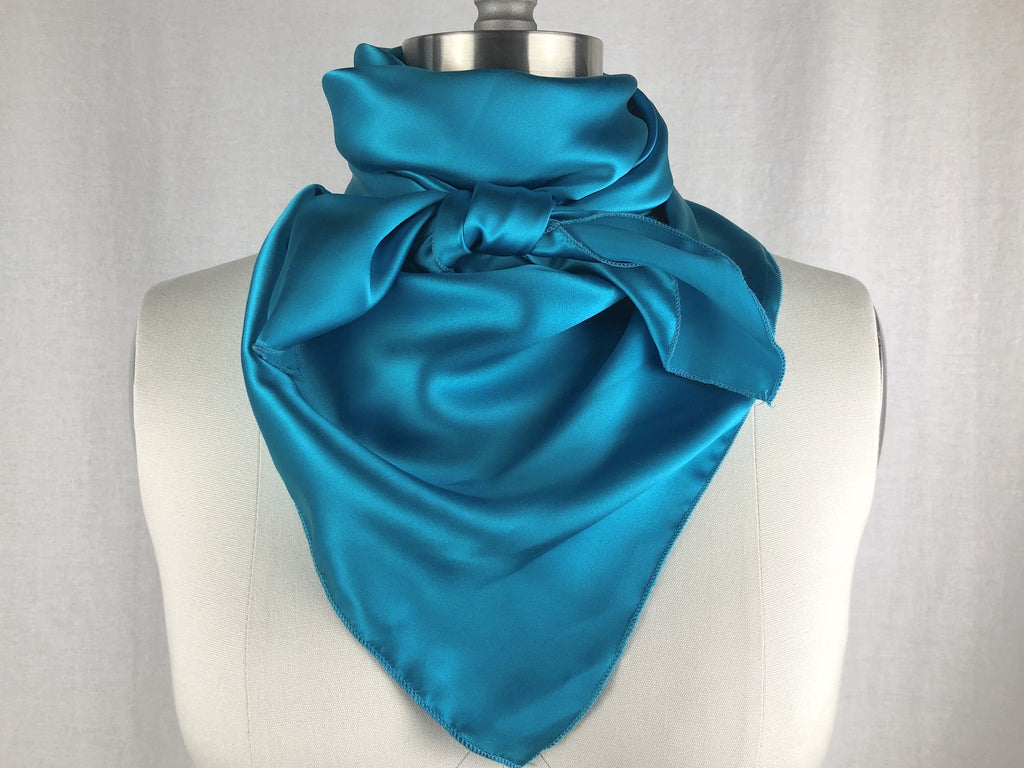 CR RanchWear Physical CR Bright Turquoise Silk Scarf 36x36