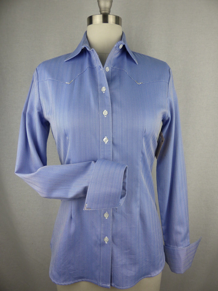 CR RanchWear Physical CR Classic Blue and White Herringbone