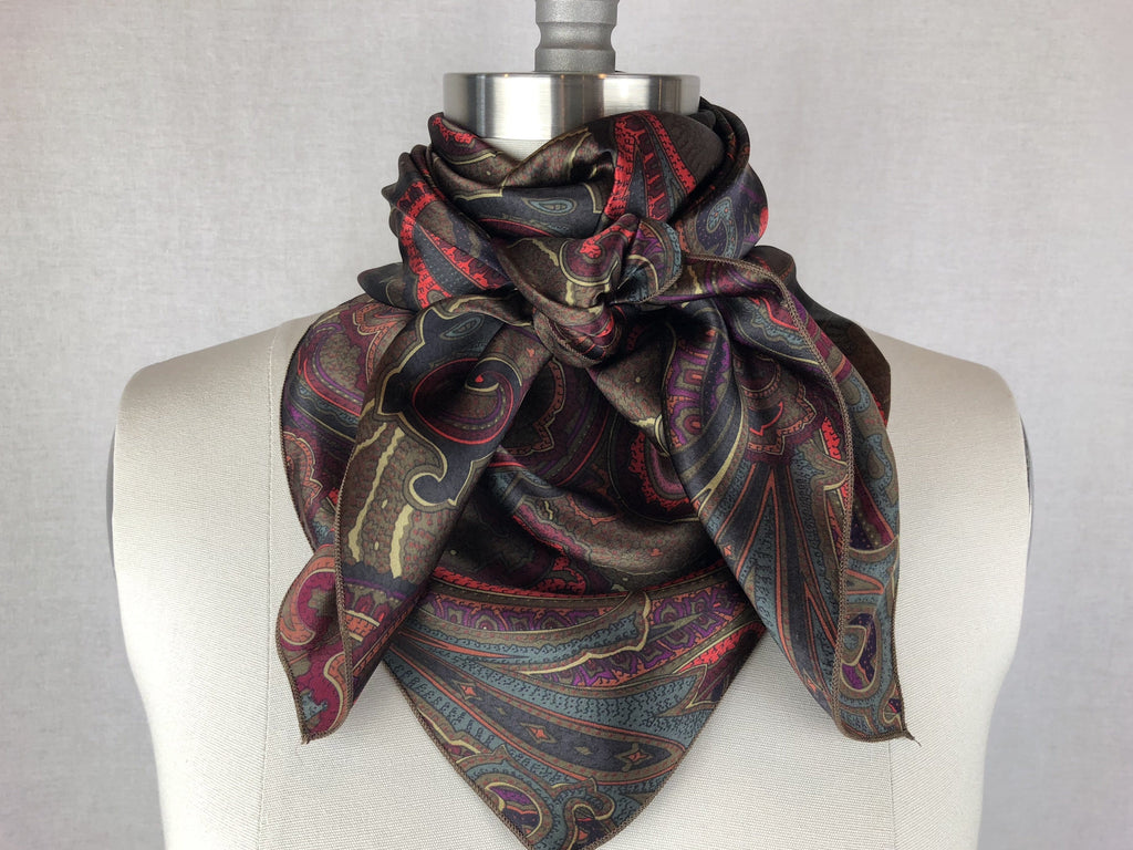 Buy Cr Dark Green Fuchsia Silk Scarf 36x36 At Cr Ranchwear