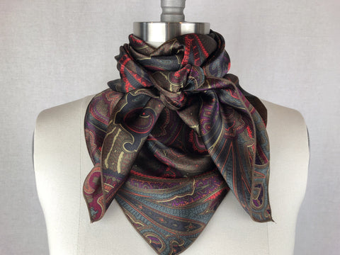 CR RanchWear Physical CR Dark Green Fuchsia Silk Scarf 36x36