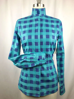 CR RanchWear Physical CR English Teal and Navy Square Dance Italian Cotton