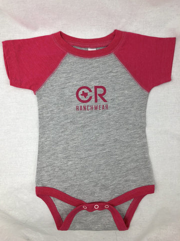 CR RanchWear Physical CR Pink and Gray Onesie