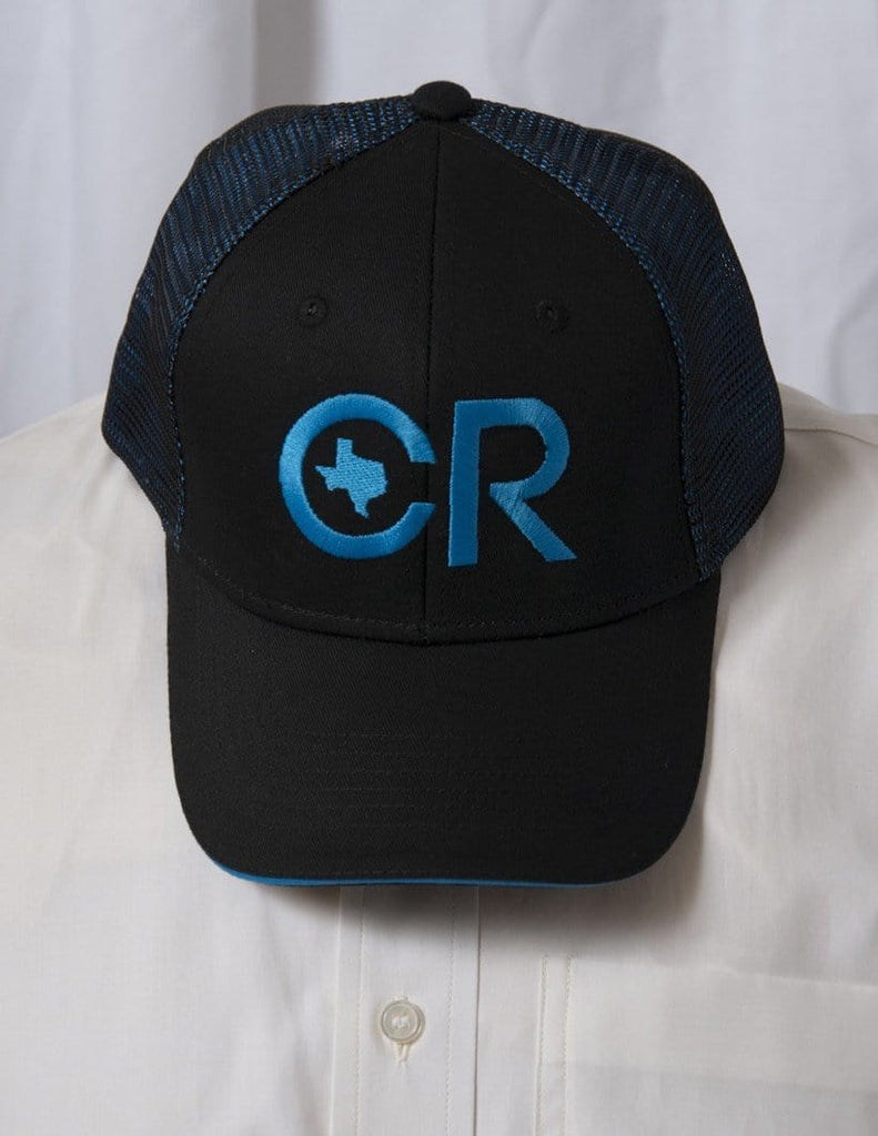 CR RanchWear Physical CR Ranchwear Black with Blue Mesh Snap Back Hat