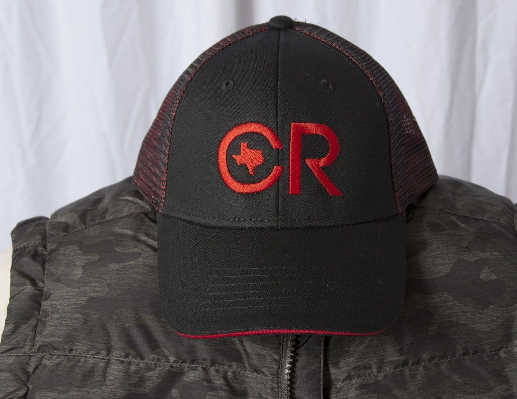 CR RanchWear Physical CR Ranchwear Black with Red Mesh Snap Back Hat