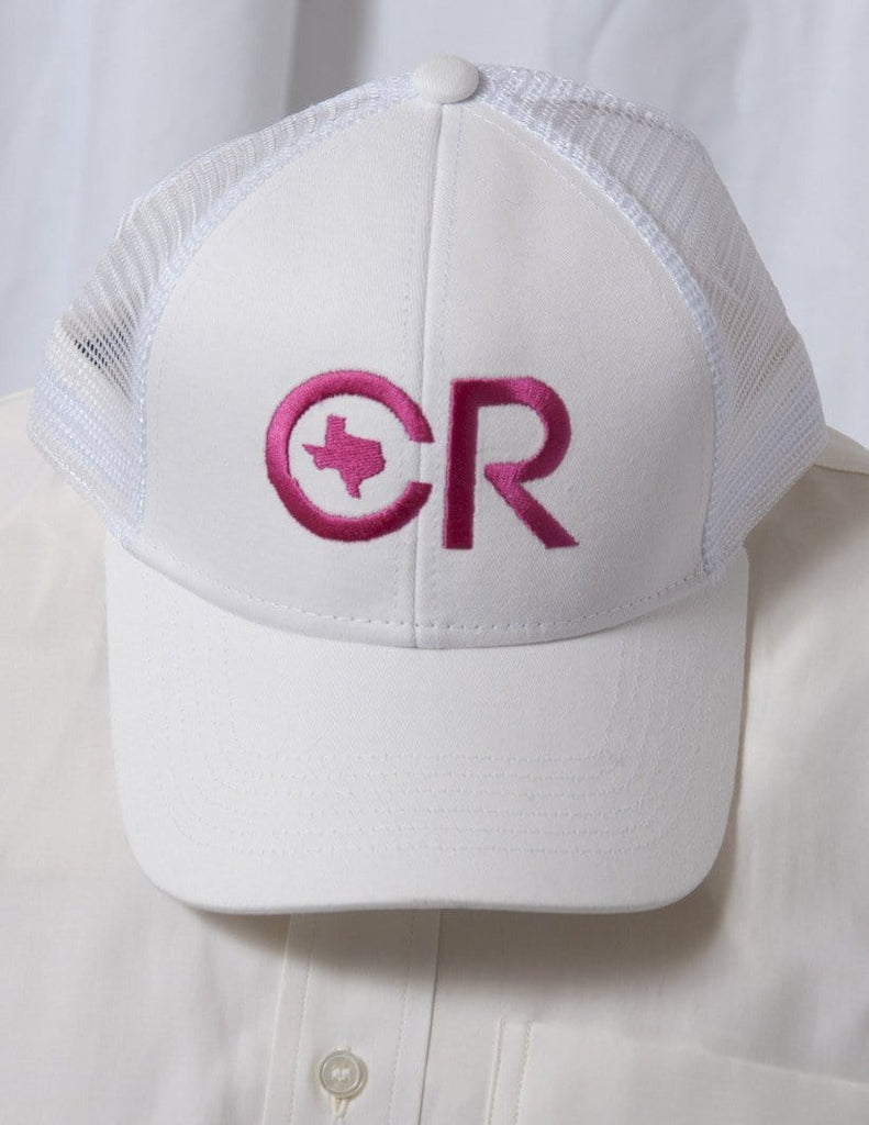 CR RanchWear Physical CR Ranchwear White with White Mesh & Pink Logo Snap Back Hat