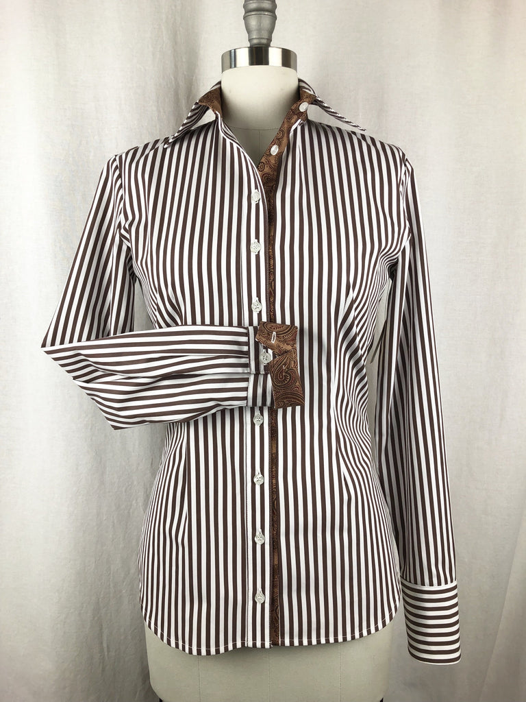 CR RanchWear Physical CR Tradition Chocolate and White Bengal Stripe Italian Cotton