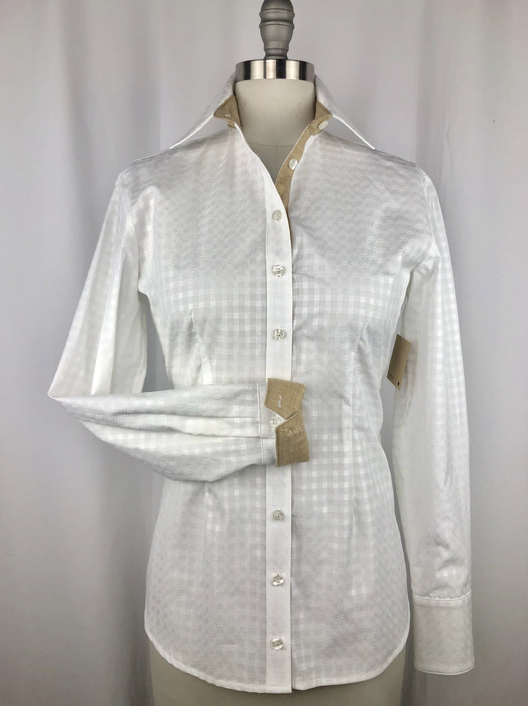 CR RanchWear Physical CR Tradition White Basketweave Italian Cotton with Sparkling Champagne
