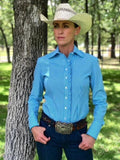 CR RanchWear Physical CR Western Ruffle Turquoise Gingham