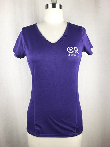 CR RanchWear Physical CR Women's Marbled Purple Vneck Performance Tee