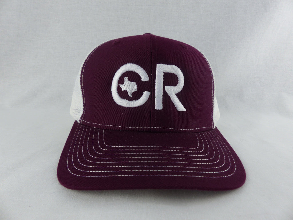 CR RanchWear Physical Maroon and White CR Hat
