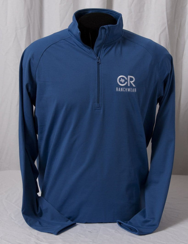 CR RanchWear Physical Men' Blue 1/2 Zip Pullover