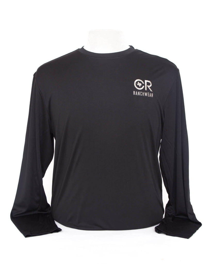 CR RanchWear Physical Men's Black Long Sleeve Performance Tee