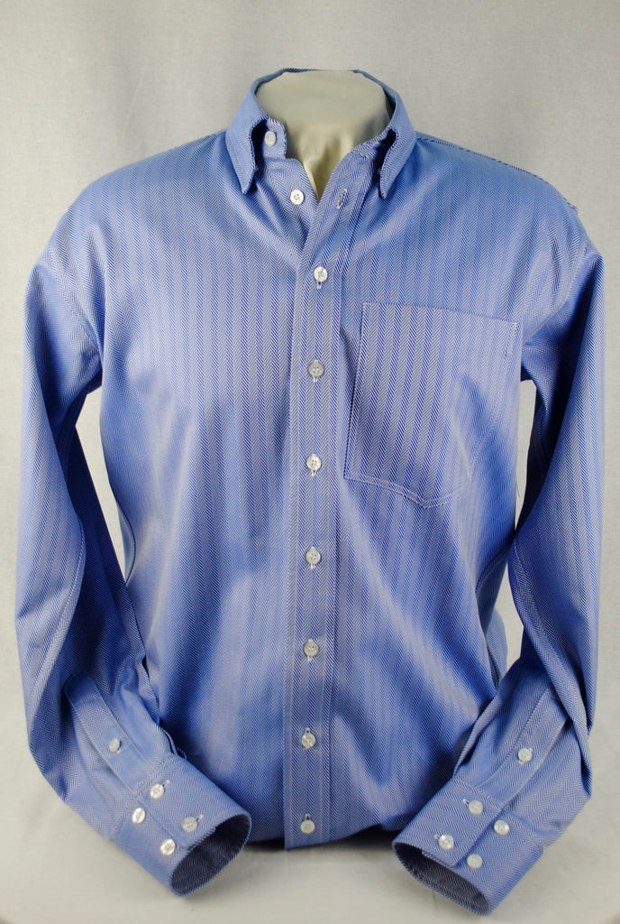Buy Men S Blue Herringbone Italian Cotton At Cr Ranchwear