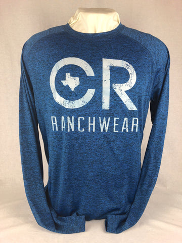 CR RanchWear Physical Men's CR Heathered Navy Long Sleeve Performance Tee