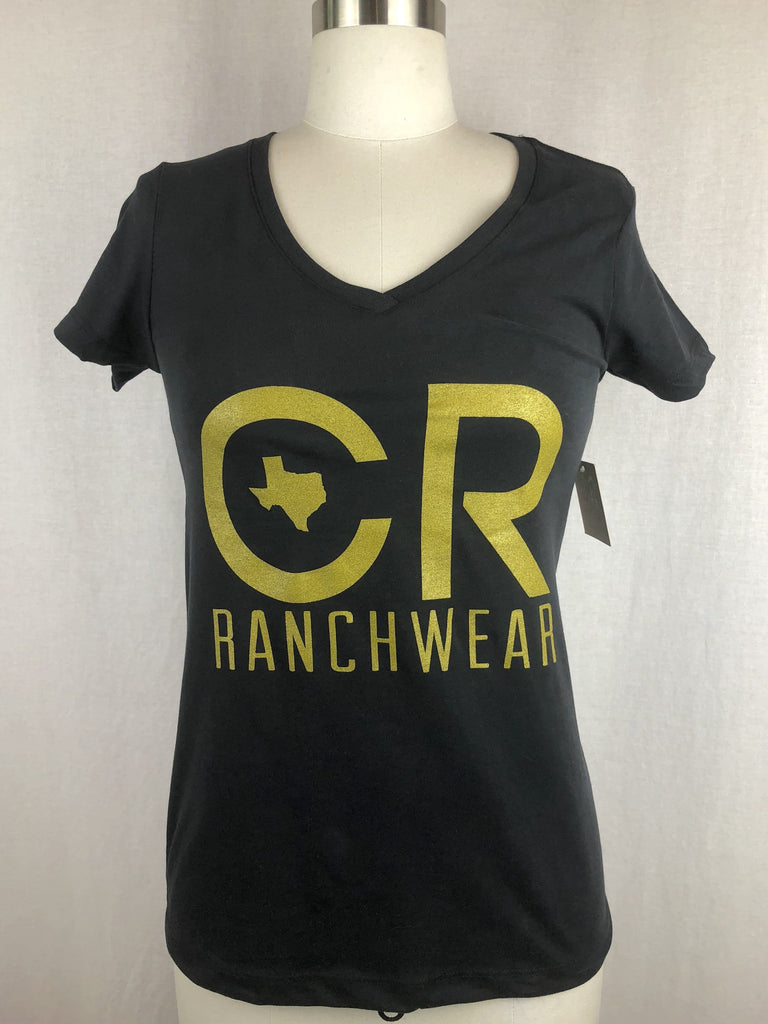 CR RanchWear Physical Women's CR Black Vneck Tee