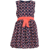 Dress with Neon Belt and Bow
