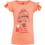 Bells and Whistles Peach Tee for Girls