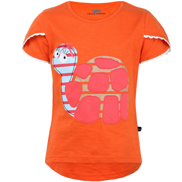Coral Colored Pet themed Girls Tee