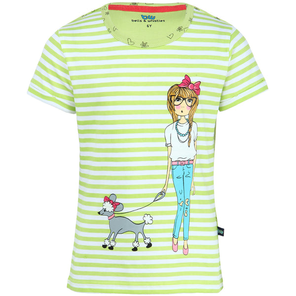 Green Stripe Printed Girls Tee on Pet theme