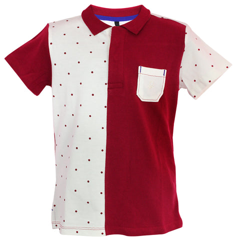 Boys Polo Neck Dots Printed T-shirt