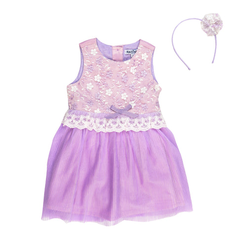 Lilac Emb Net Party Dress