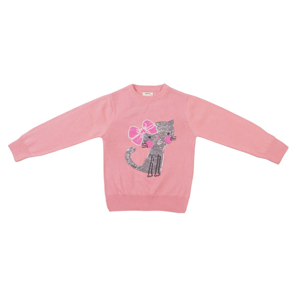 Cat Emb. Girls Pullover