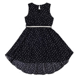 GIRLS BLACK DRESS WITH SILVERV BELT