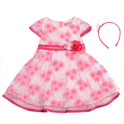 Girls Pink Party Wear Dress