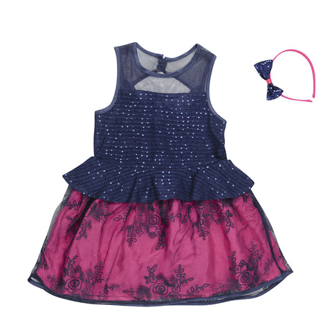 Girls Red & Black Embellished Party Wear Dress