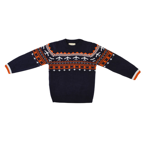 Crew Neck Jacquard Sweater