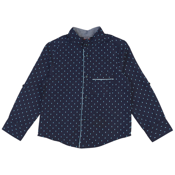 Boys Navy Dot Print Shirt