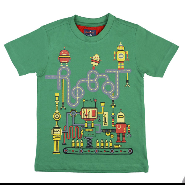 BOYS GREEN 100 % COTTON T-SHIRT