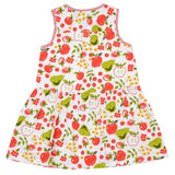 Girls Blue Multicolor Fruit Print Dress