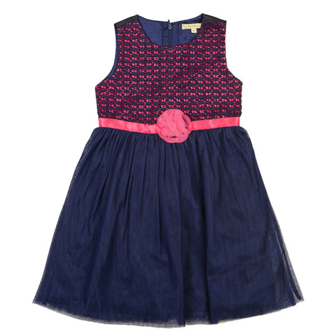Girls Navy & Peach Round Neck Party Wear Dress