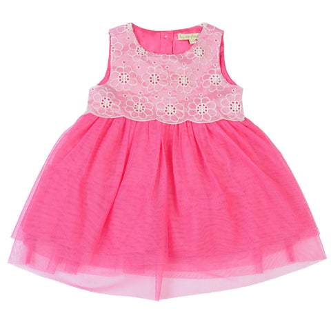 Girls Peach Round Neck Party Wear Dress