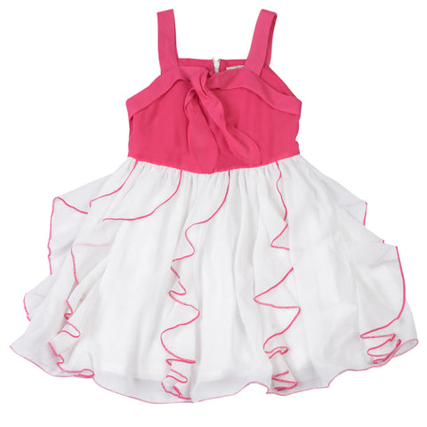 Girls Red & White Party Wear Dress