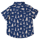 Boys Navy Printed Short Sleeves Shirt