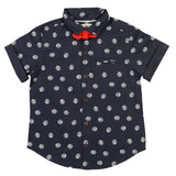 Boys Navy Regular Collar Half Sleeves Shirt