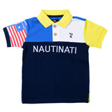 Boys Navy & Yellow Polo Neck T-Shirt