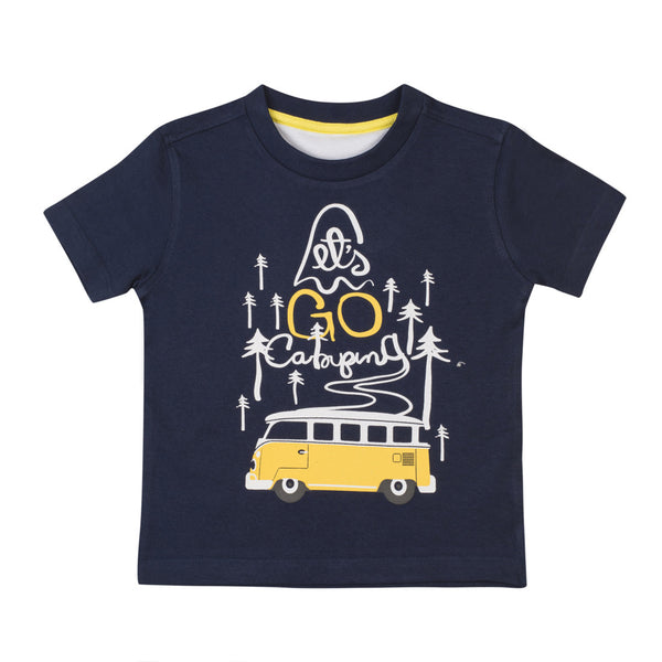 Boys Navy & Yellow Round Neck T-Shirt