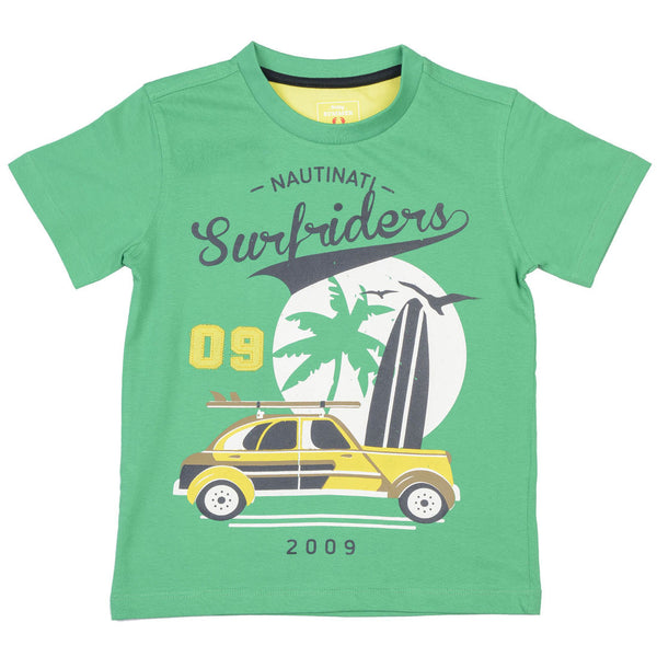 Boys Green & Yellow Round Neck T-Shirt